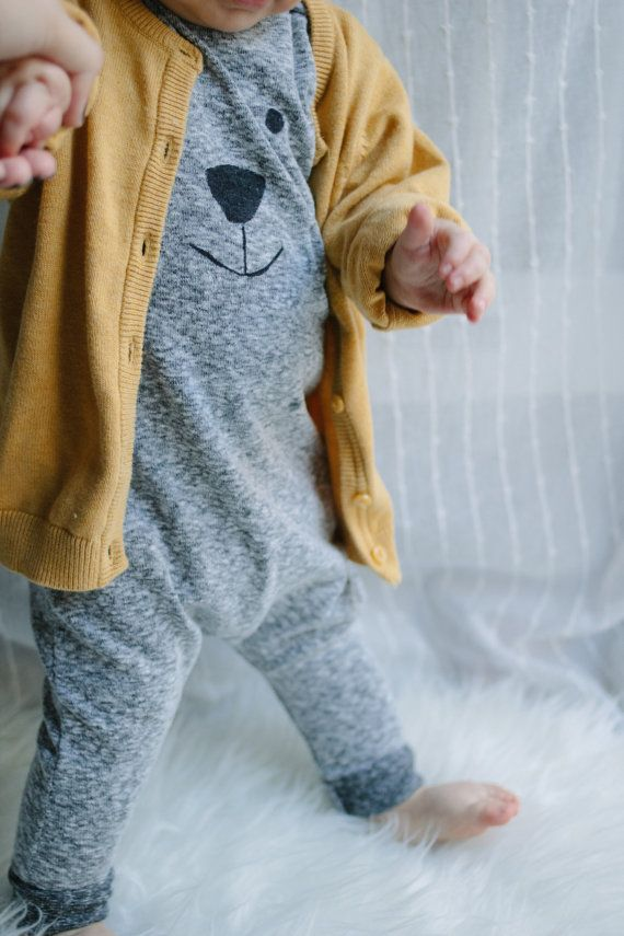 Harem Style Romper Bear Face Polar Bear Romper By Anchoredeep Baby