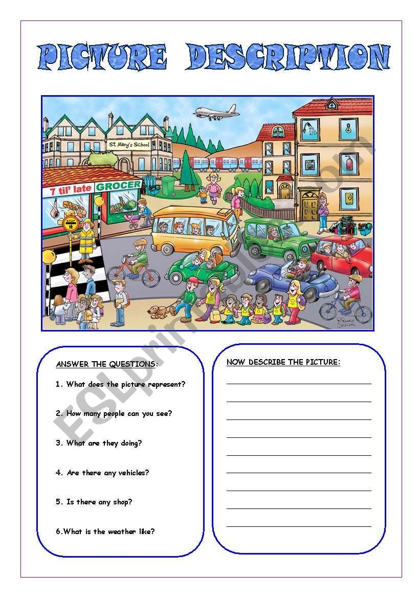 picture description 1 worksheet language arts picture comprehension english writing skills. Black Bedroom Furniture Sets. Home Design Ideas