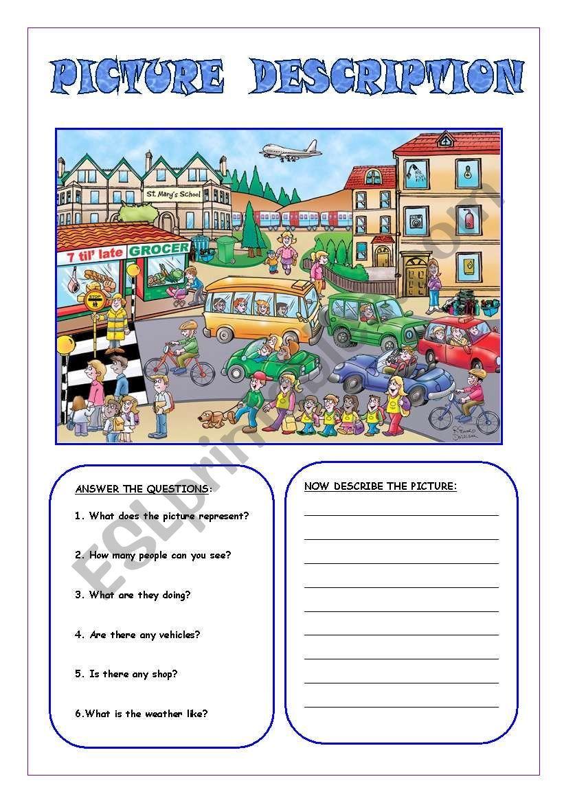 medium resolution of Picture description 1 worksheet   Picture comprehension