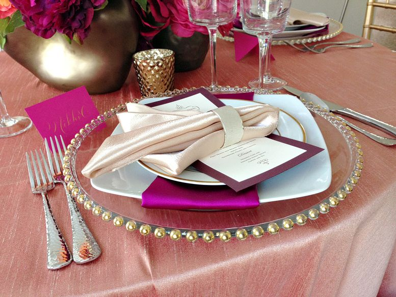Pink Purple Table Setting, Gold Chargers, Purple Menu Cards, Pink ...