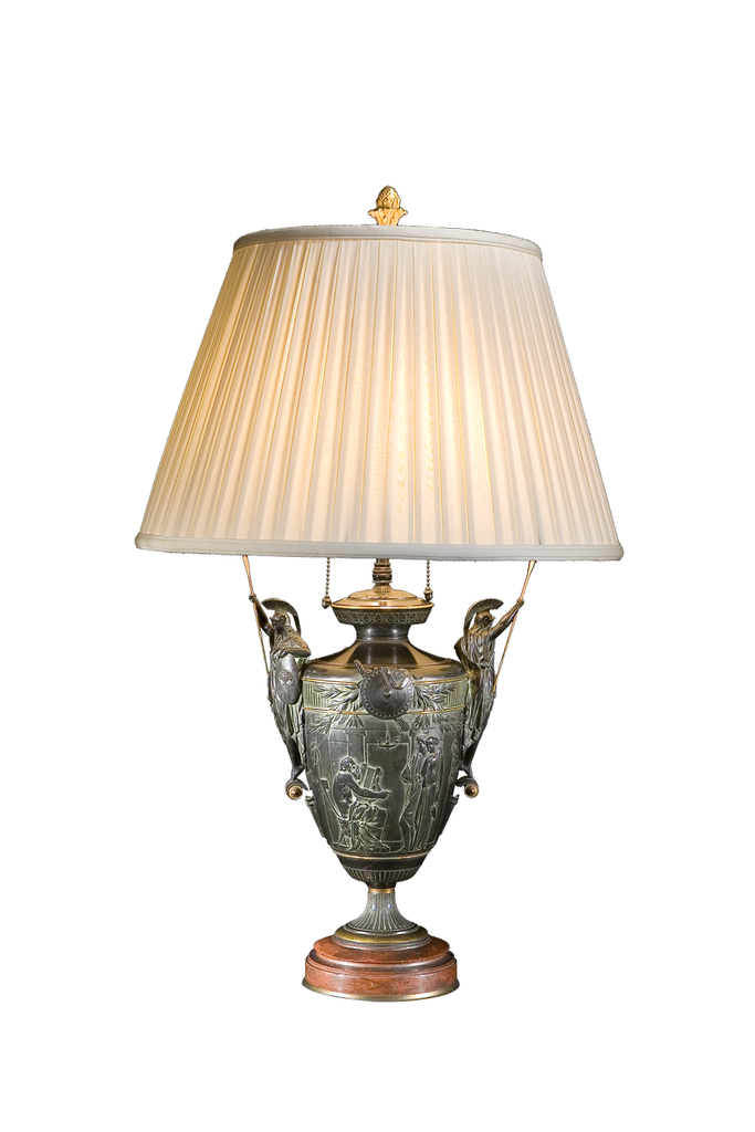 Bronze and Roja Marble Armorial Lamp (PAIR)