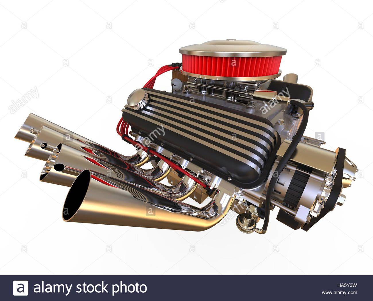 Hot Rod V8 Engine 3d Render Stock Photo, Royalty Free Image: 126750173 - Alamy