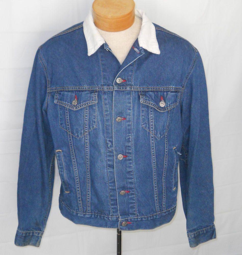 Calvin Klein Men Blue Jean Jacket Medium Usa Sample Soft Corduroy Collar Vintage Denim Coat Jacket Tall Jeans Mens Big And Tall [ 1000 x 949 Pixel ]