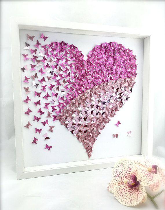 paper butterfly 3d butterfly wall art butterfly heart. Black Bedroom Furniture Sets. Home Design Ideas