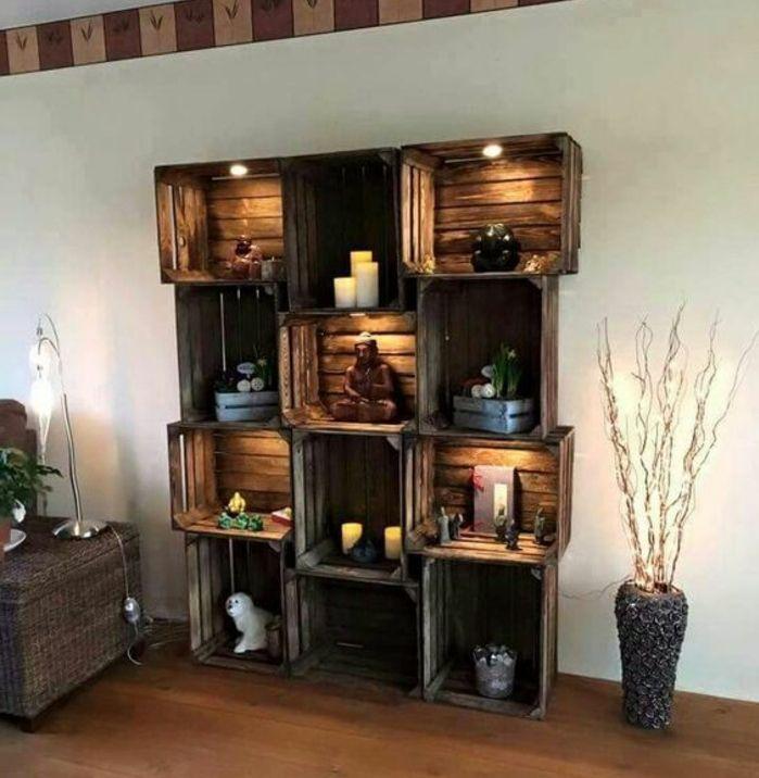 1001 id es pour fabriquer une tag re en cagette soi m me maison pinterest cagette bois. Black Bedroom Furniture Sets. Home Design Ideas