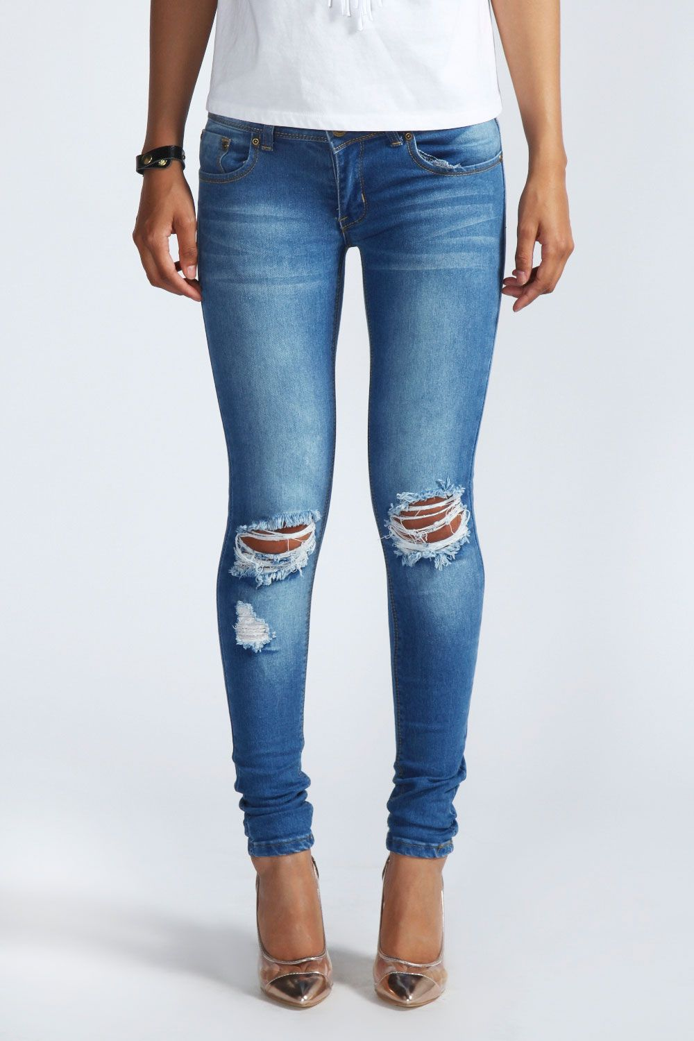 3dd28b78aed217 Mid Rise Distressed Rip Knee Skinny Jeans in 2019 | nigeria | Riped ...