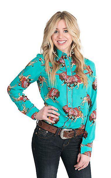 06011595 Wrangler Women's Turquoise with Indian Headress Print Long Sleeve Retro  Snap Shirt