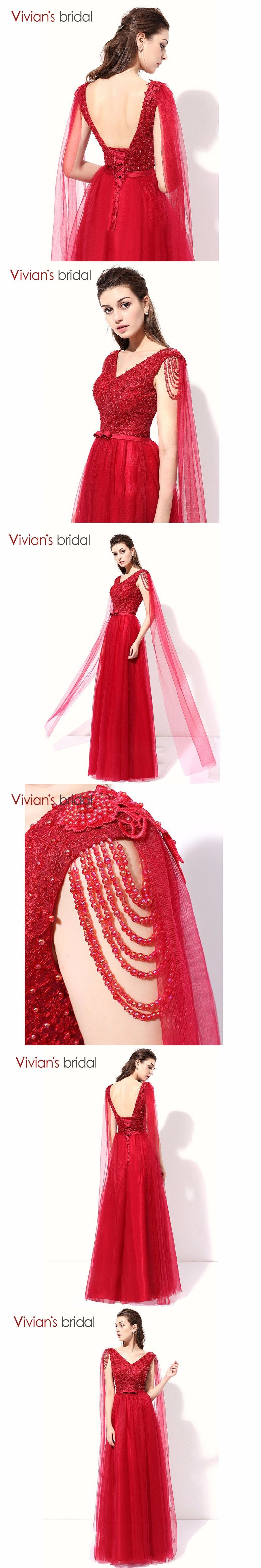 Beaded A Line Evening Dress Long Vivian s Bridal V Neck Sleeveless Evening  Gown Prom Dress Backless beda62506bc7