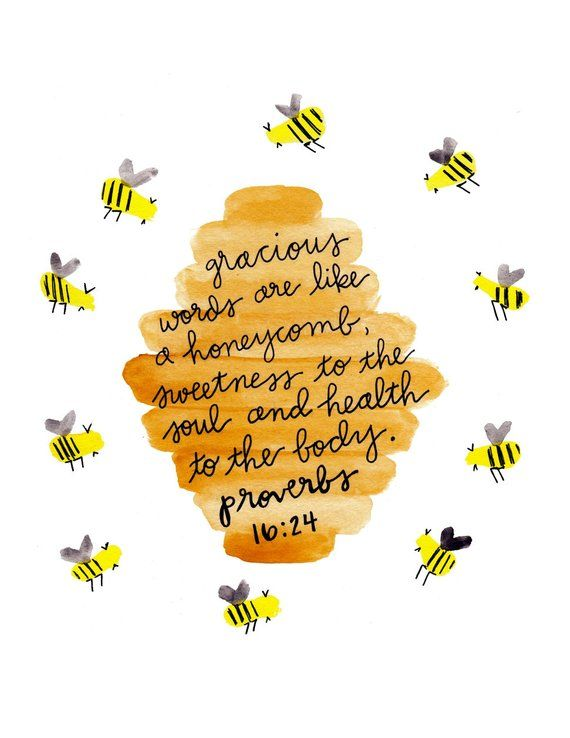 Instant Download, Printable, Bible Verse Wall Art Print, Bee Art Print, Bee Decor, Bible Quote, Wate #bible