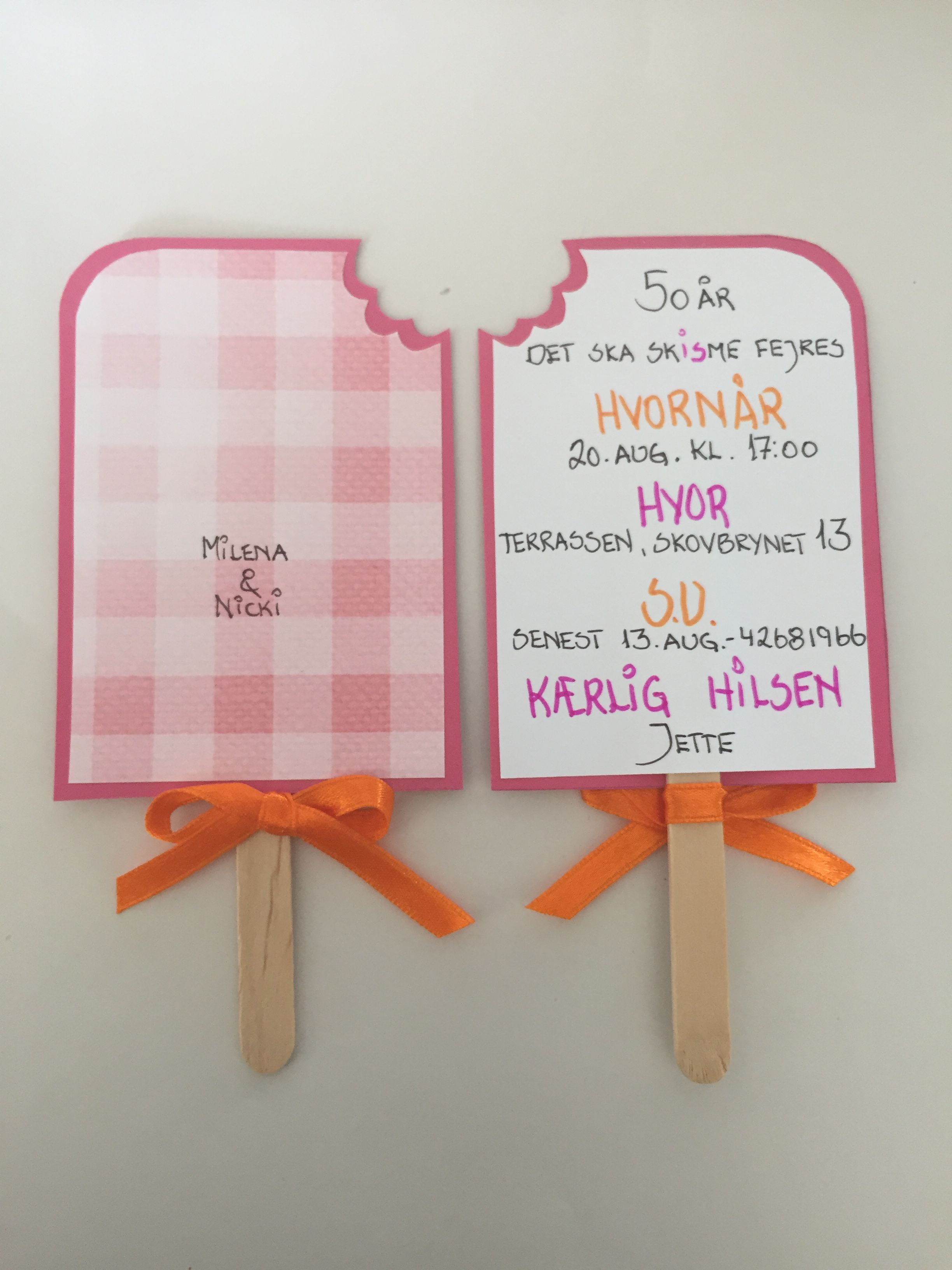 Invitation 50 år - ispind | iMade | Birthday, Invitations ...