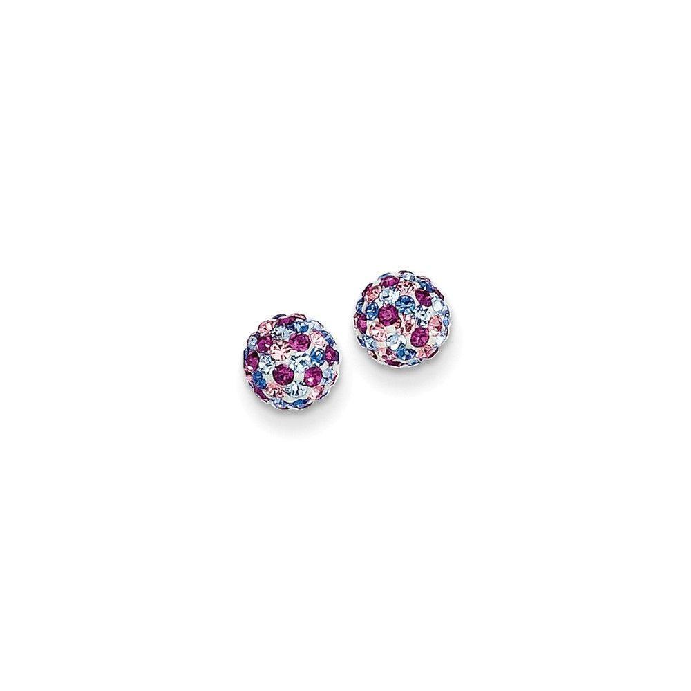 14k Blue Pink Multi Crystal 6mm Post Earrings