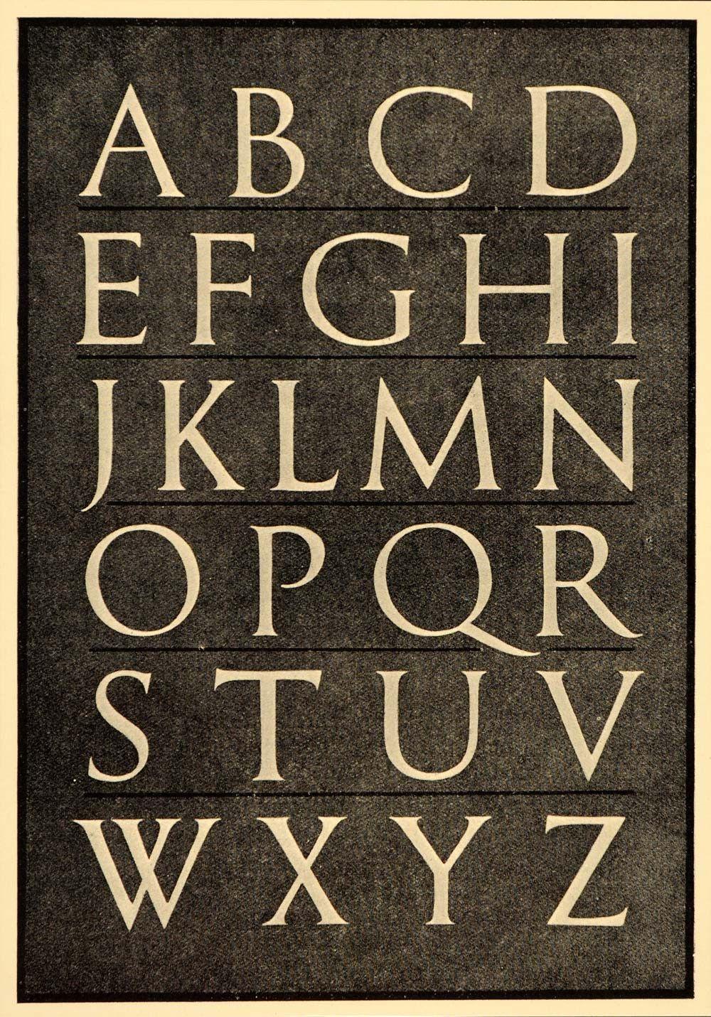 1933 Roman Alphabet Font Typeface Trajan Column Print Letters