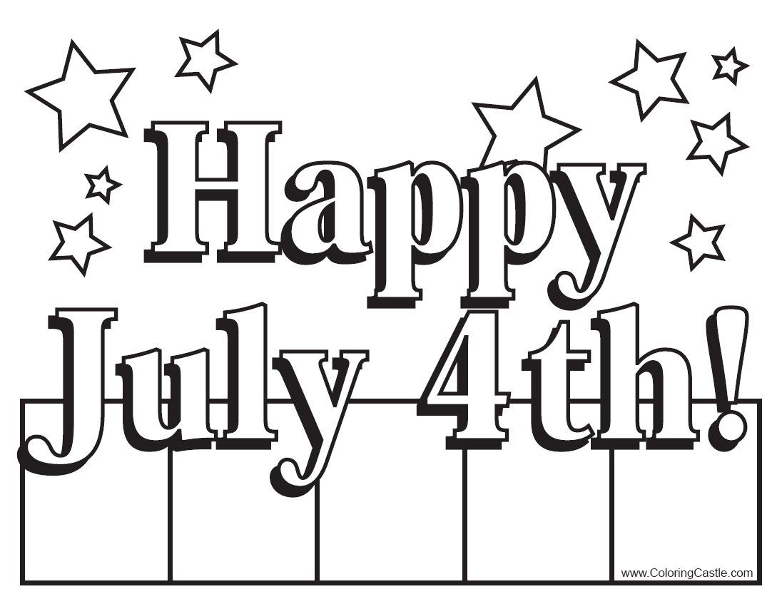 "4 of July Coloring Pages Happy July 4th"" Sign Coloring"