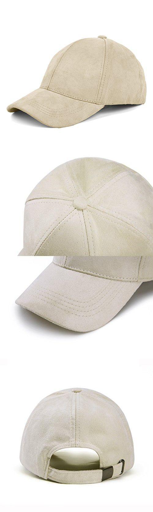 916e122ff4e JOOWEN 6 Panel Faux Suede Baseball Cap Classic Adjustable Soft Plain Hat  (Beige)