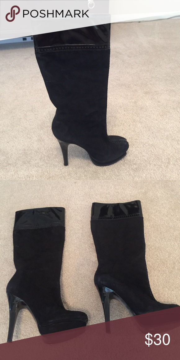 Boots Great condition BCBG BOOTS. Patent and suede. Platform heel. BCBG Shoes Heeled Boots
