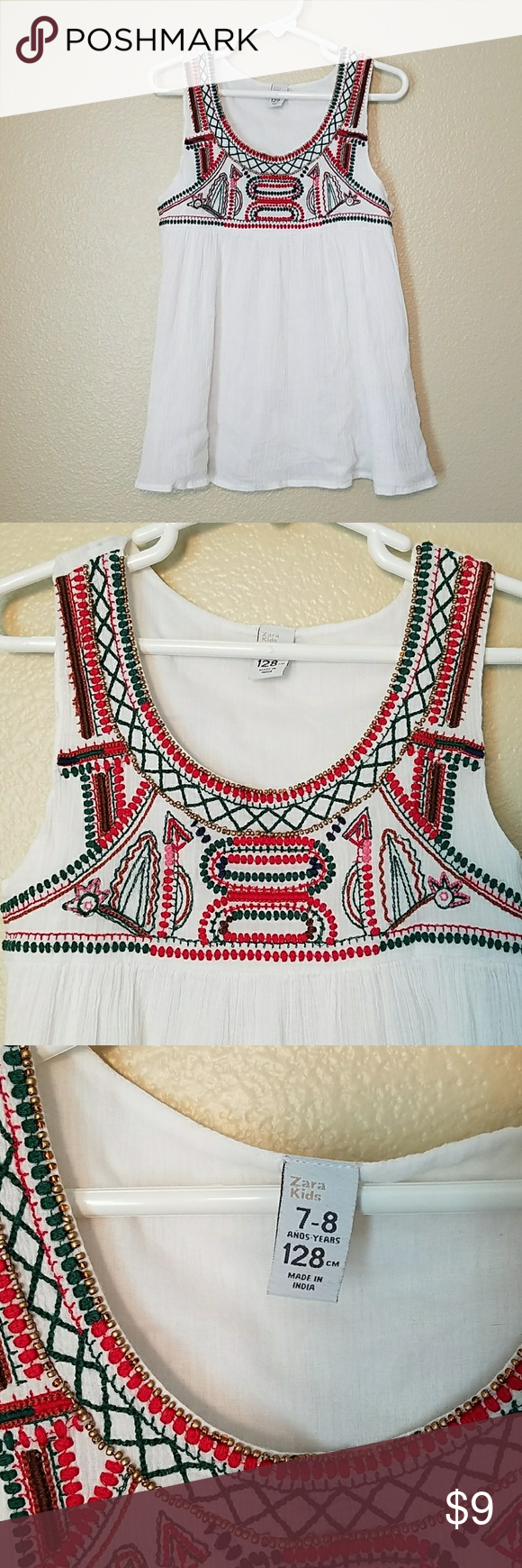 Zara kids embroidered tank top 7 - 8 This 100% cotton gauze tank top has beautif... ,  #beautif #Cotton #Embroidered #gauze #KIDS #Tank #top #ZARA #zarakidsred