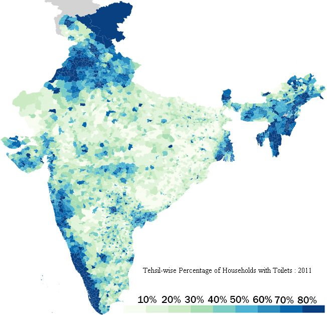 40 more maps that explain the world Percentage of Indian homes with toilets