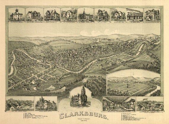 18x24 Gadsden Alabama 1887 Historic Panoramic Town Map