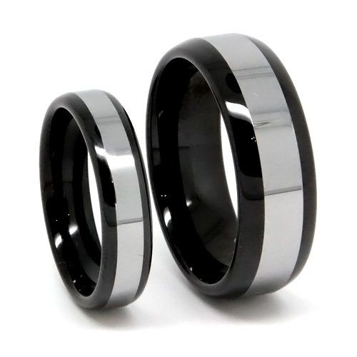 Matching Black Tungsten Wedding Band Set His Her Rings Anium Top