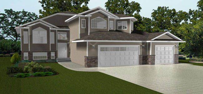 Bi Level With A 3 Car Garage 2010520 By E Design House Exterior House Plans Split Level House