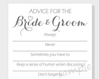 Diy Advice For The Bride Groom Printable Cards A Bridal Shower Or Wedding Tiny Heart Design Always Never Etc