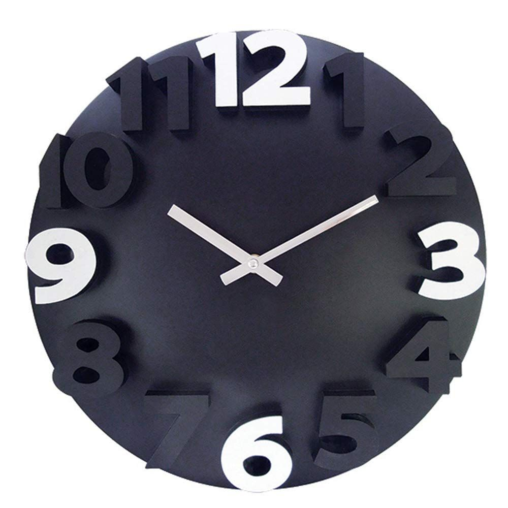Lonbuys Large 3d Number Wall Clock Silent Non Ticking Quality Quartz Battery Operated Creative Wall Clocks For Home Wall Clock Big Wall Clocks