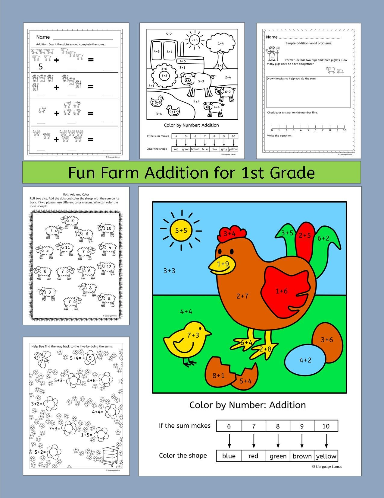 Farm Addition worksheets and activities including fun Color by ...