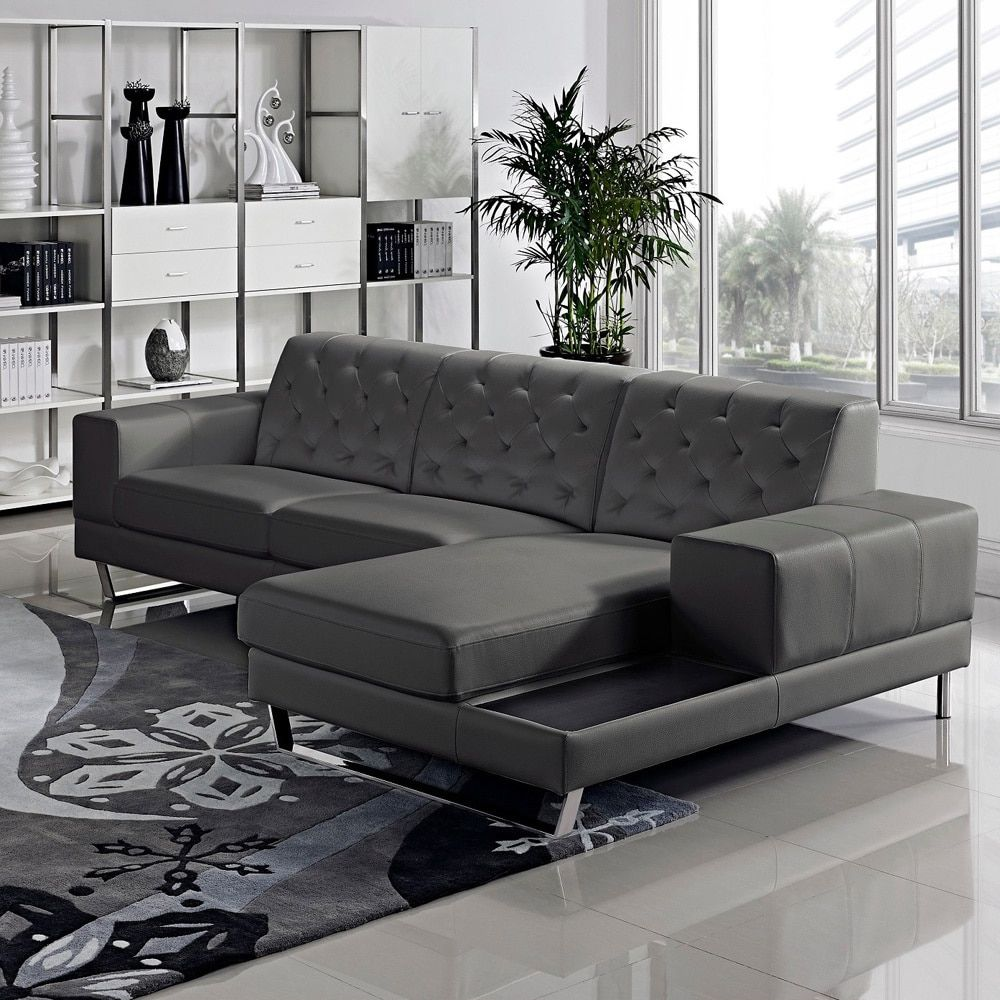 Us Pride Furniture Stella Contemporary Chaise Leather Sectional Sofa Set Dark Grey Right Facing Bonded