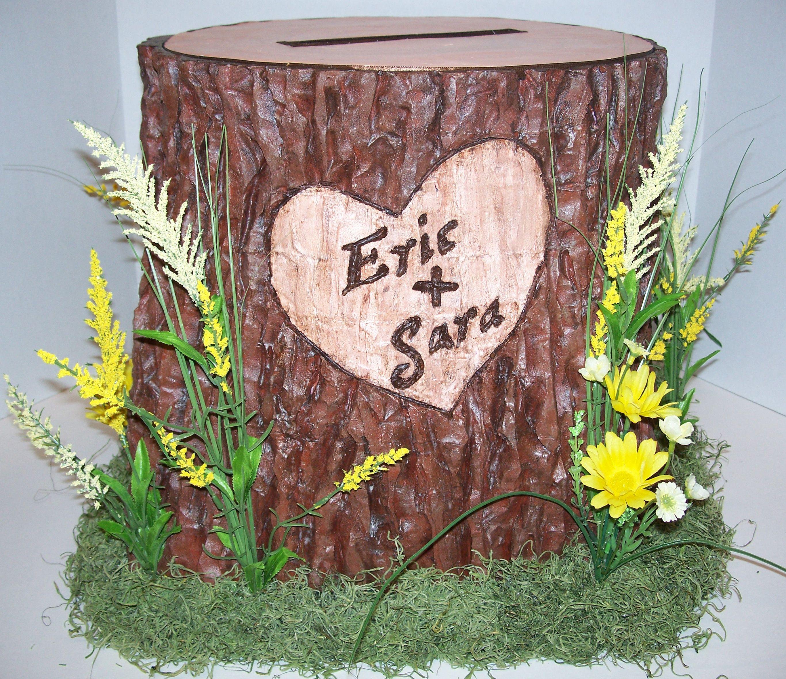 Fall Wedding Card Box Ideas: Tree Stump Card Box Holder For Wedding Reception