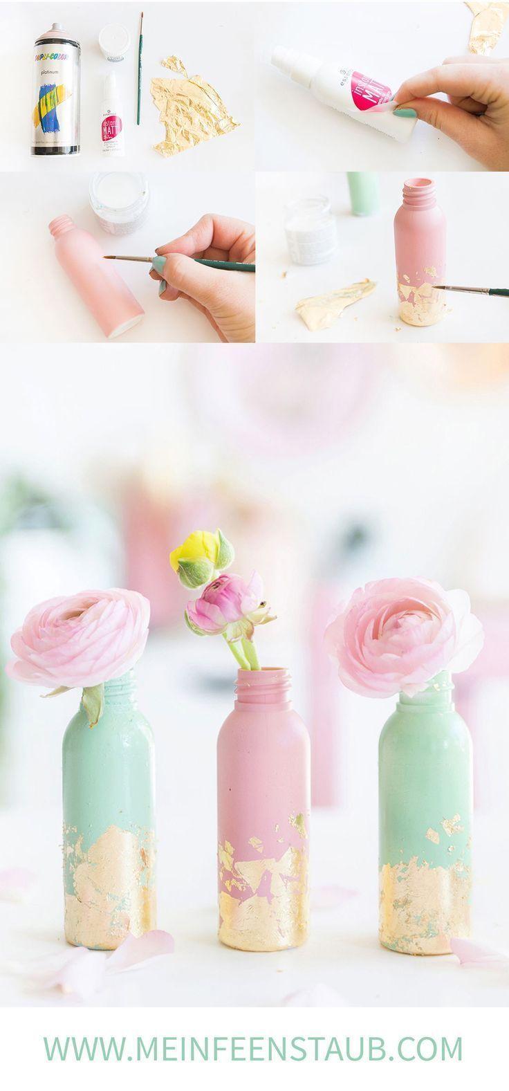 Kreative DIY-Idee zum Selbermachen: Upcycling DIY Mini-Vasen mit Blattgold aus leeren Kosmetikflaschen einfach selbstgemacht | Upcycling aus alten Flaschen | Vasen basteln mit Blattgold #selbstgemachtezimmerdeko