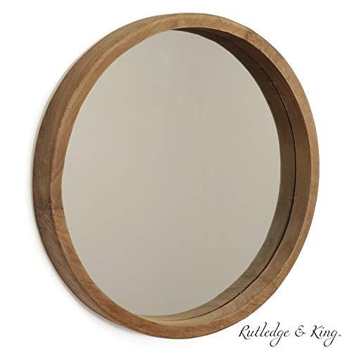 Amazon Com Rutledge King Riverside Wooden Mirror Wood Wall Mirror Rustic Round Mirror Medium De Round Mirror Bathroom Wooden Mirror Wood Framed Mirror