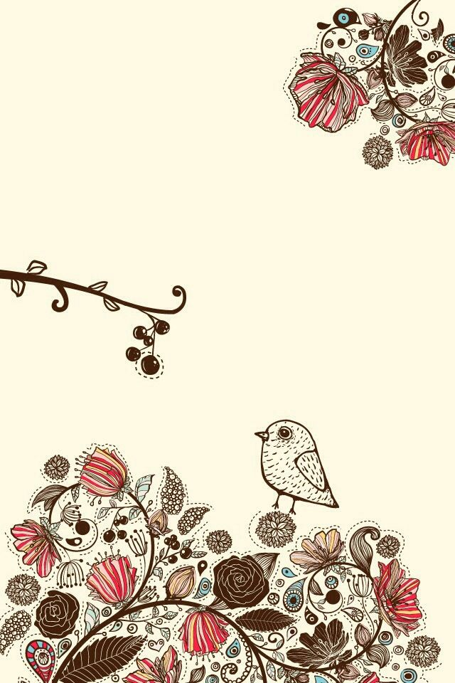 Floral With Birds Wallpaper Iphone Cute Iphone Wallpaper