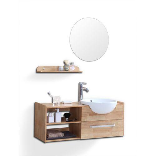 Le meilleur prix pour votre Meuble de salle de bain : vasque, meuble sous-vasque, étagère et miroir Eytan - Chêne clair - L126xP45xH57