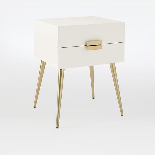 Hayworth Nightstand White Lacquer West Elm Contemporary