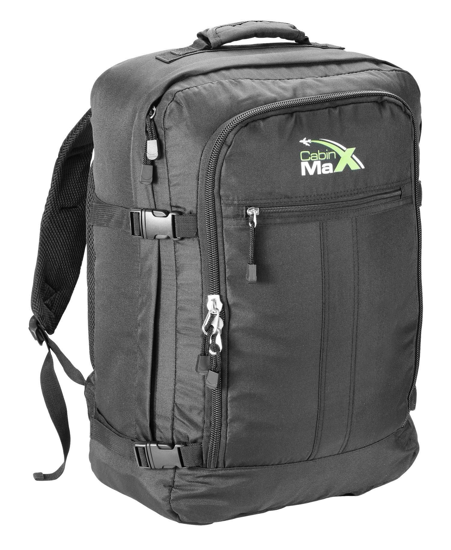 Cabin Max Backpack Flight Approved Carry On Bag Massive 44 litre Travel Hand Luggage 55x40x20 cm - Metz Black: Amazon.co.uk: Clothing  Fits in overhead compartment on Norwegian 669 grams.