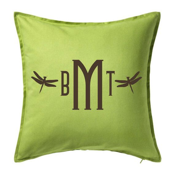 Dragonfly Monogram Pillow Cover