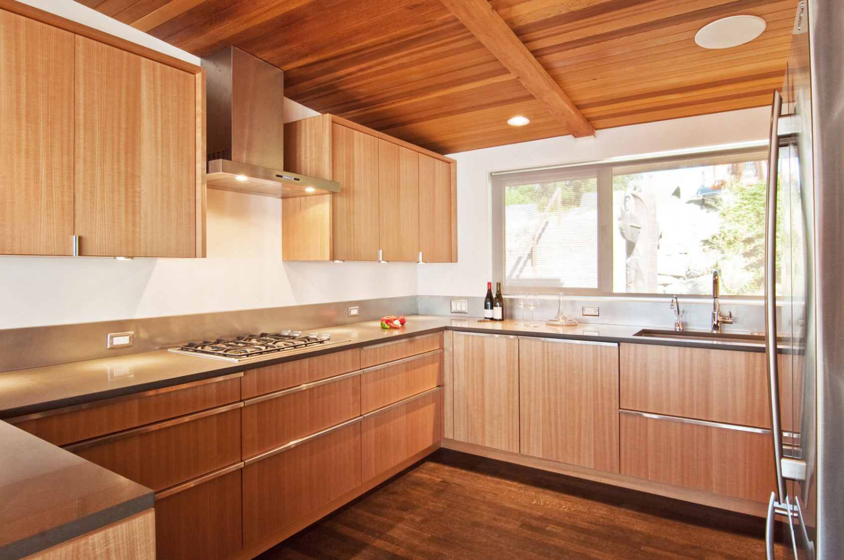 Quartersawn Anigre And Cedar Ceiling Bamboo Kitchen Cabinets Luxury Kitchen Cabinets Custom Kitchen Cabinets