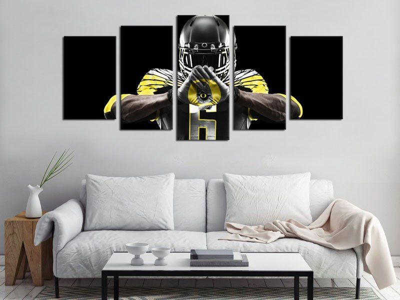 Framed Large 5 Pieces HD Giclee Prints Canvas Art Oregon Ducks Logo  Football Painting Canvas Wall Art Decor For Bedroom Living Room Home  Decoration.