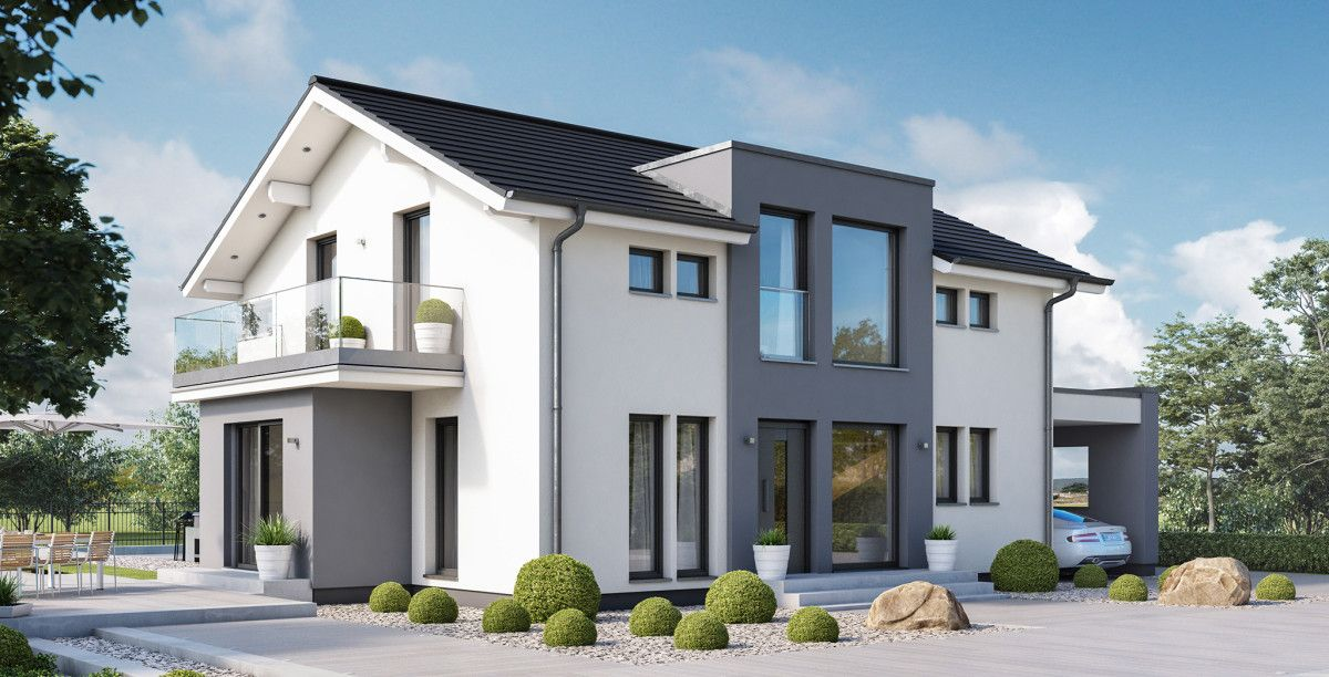 Stadtvilla Satteldach Moderne Architektur Dortmund: Einfamilienhaus Modern Mit Satteldach