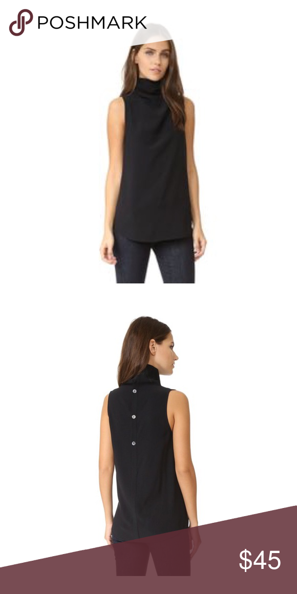 9b30aad03e7626 Theory Black Axlie Crepe Cowl Neck Top New Theory Axlie drapery Top in black.  Cowl neck line. Sleeveless. Slim silhouette. Arched hem. Button back.
