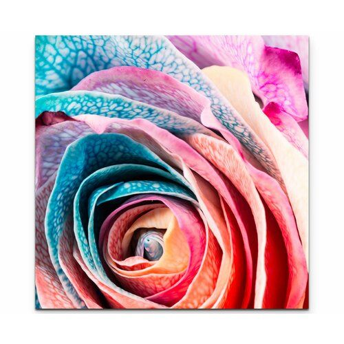 Rainbow Rose Photographic Art Print on Canvas East Urban Home Size: 90cm L x 90cm W #rainbowroses