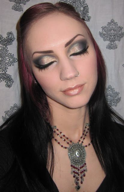 Glitter is my crack...: Gold, Blue and Black Dramatic Makeup look with MAC