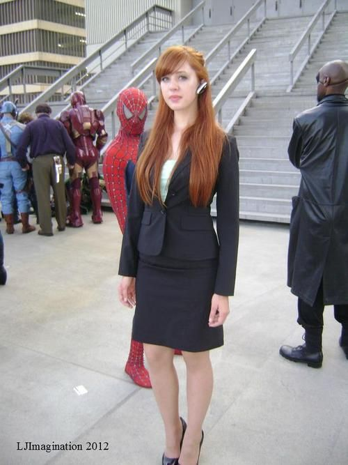 Pepper Potts from Ironman (also, Spiderman photobombing)