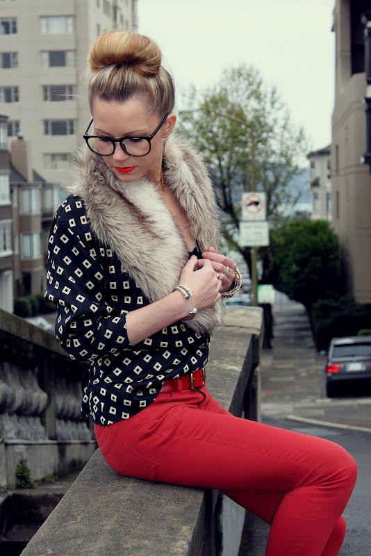 print, fur, & red jeans