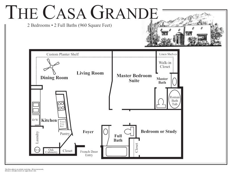 Http Tucsonrentalhomes Com Casagrande Floor 07142010b Jpg Guest House Plans Adobe House House Flooring