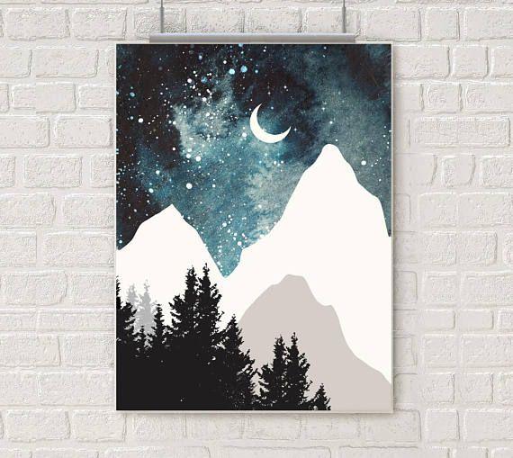Blue mountains aquarell wallart nature landscape poster