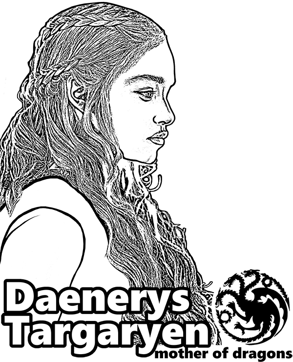 Daenerys Targaryen From Game Of Thrones Coloring Page