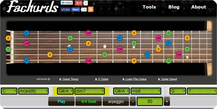 Free Online Chords Progressions Generator: create a jam chords track ...