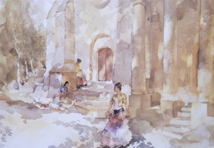 Gypsies Outside A Church Danza William Russell Watercolor
