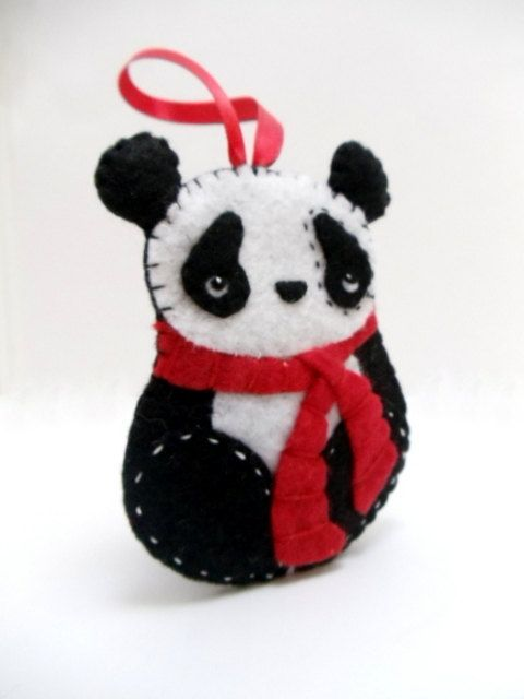 Felt Panda Bear Ornament by BananaBugAndZod on Etsy | Felt ...